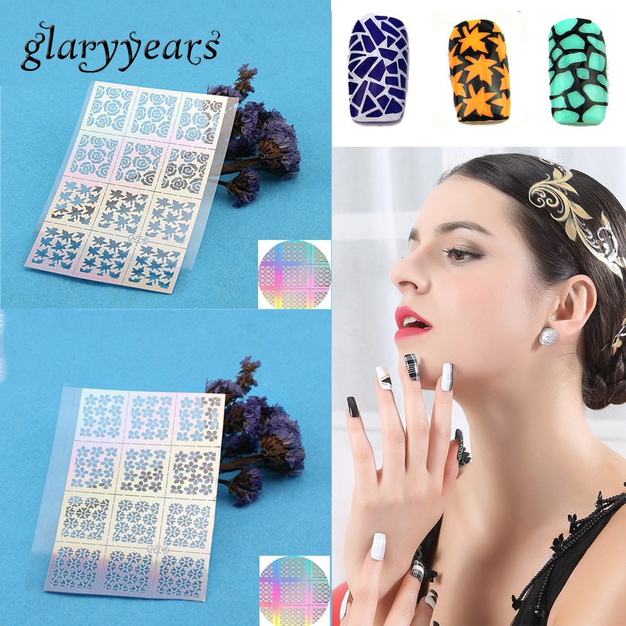1 Sheet Airbrush Nail Art Paint Sexy Tips French Rose Flower Nail Manicure Full Nail Decal Sticker Floral Guides Stencil Designs 0 2mm 2cc nail art airbrush system kit for nail art makeup body paint 100 240v