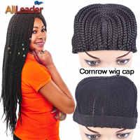 5 piunids/lote precio al por mayor gorras de peluca para hacer pelucas caja trenzada Cornrow gorras de peluca con peines Top más fácil de coser peluca trenzada tapas