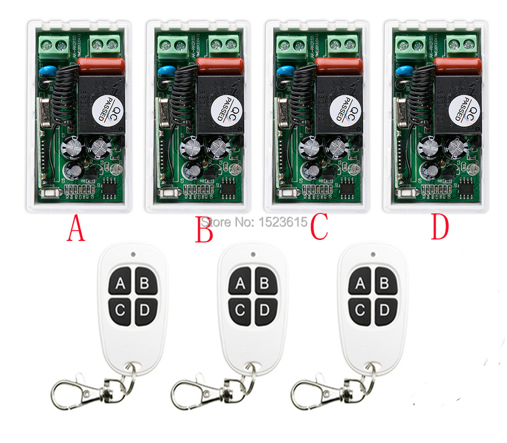 most simple wiring New AC220V 1CH 1Channe RF wireless remote control switch System 3X Transmitter + 4X Receiver,315/433 MHZ simple and practical ac220v 1ch wireless remote control switch system1transmitter