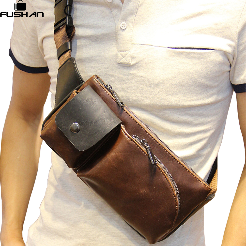 Hot 2017 New Arrival Fashion Leather Men Messenger Bags High Quality Casual Small Chest Packs Vintage Brown Shoulder Bags Bolsos