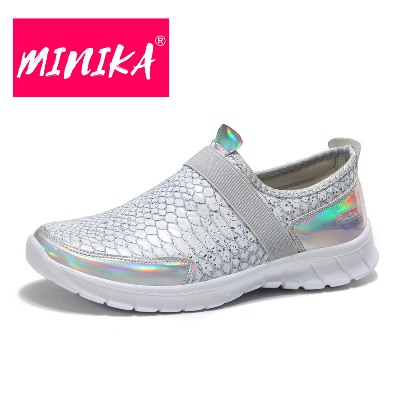 MINIKA Large Size 36-42 Fashion Bling PU Leather Breathable Flat Shoes Woman Casual Slip-on Lightweigh Female Winter Sneakers jad spo 108 bicycle breathable pu shoes silver size 42