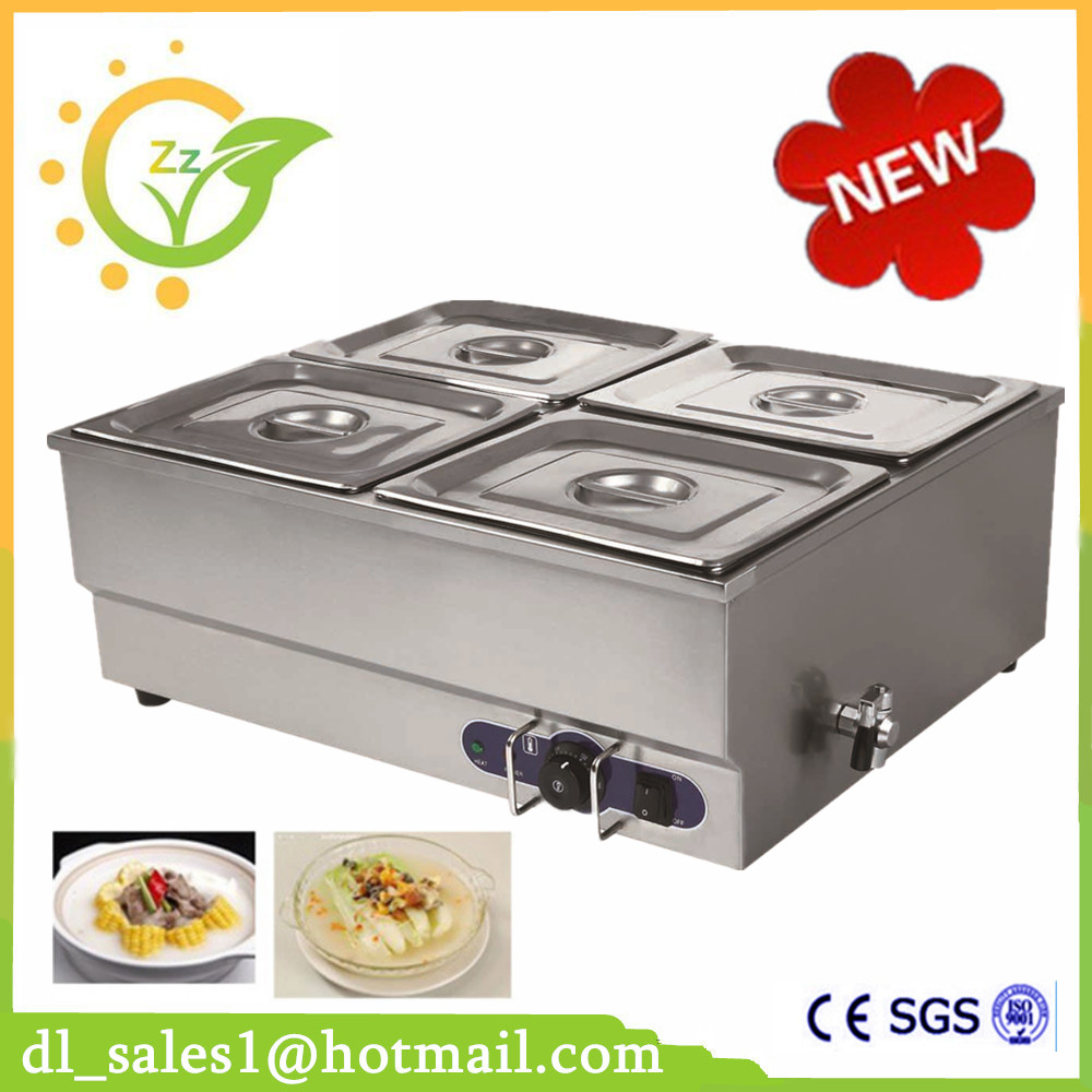 Commercial 220V 4-pin Electric Bain Marie Food Warmer with tap