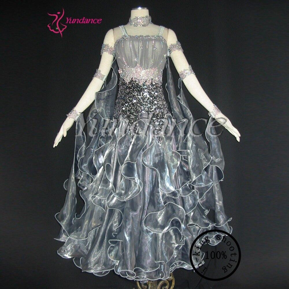 046221cbeb01 B-1154 Grey Ballroom Dance Dress/Plus Size Dancewear/Costumes Lyrical Dance