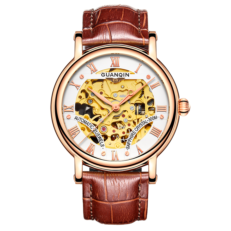 GUANQIN GJ16053 watches men luxury brand Mechanical Automatic Watch Leather Sapphire Tourbillon Hollow Wristwatch Skeleton holuns original luxury automatic mechanical watch golden big dial sapphire mirror hollow watch men casual retro leather watches