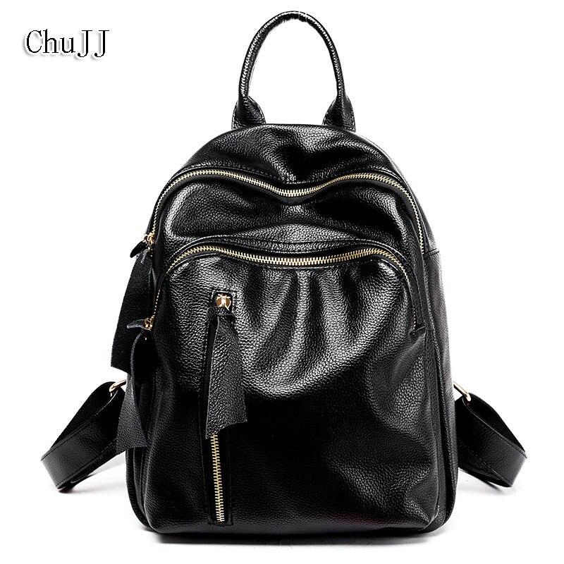 Fashion Womens Genuine Leather Backpacks Women Girls Students School Bag Small Shoulder Bags Women Casual Back Packs Travel Bag