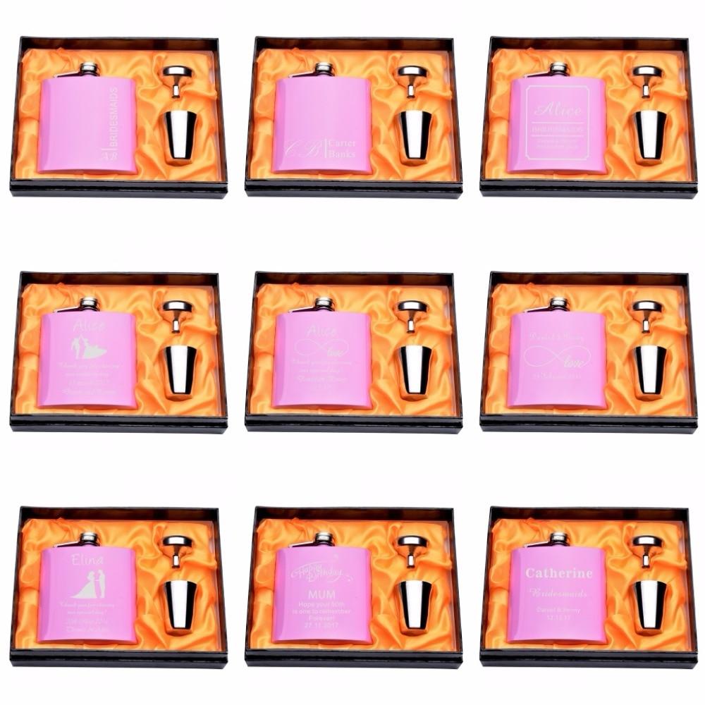 1 Set Přizpůsobené ryté 6 oz Pink Hip baňky z nerezové oceli Svatební narozeniny Valentýna dárkové laskavosti
