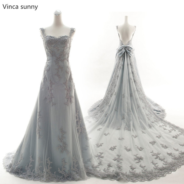 Vinca sunny 2018 sexy silver grey wedding dresses mermaid bridal ...