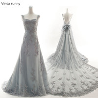 Vinca Sunny 2017 Sexy Silver Grey Wedding Dresses Mermaid Bridal Gowns Vestidos De Noiva Cheap Wedding
