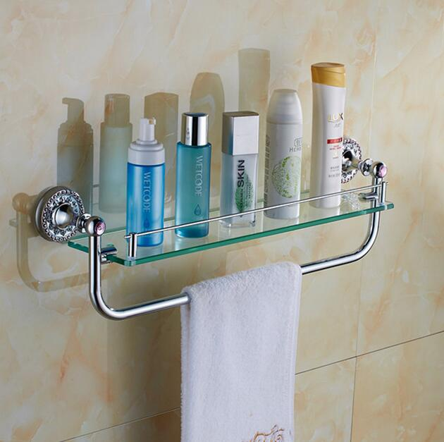 Bathroom Single Shower Glass Shelf Bath Shower Shelf Corner Rack Chrome Shower Holder Bathroom