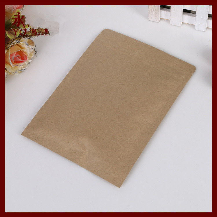13*21 100pcs brown self zip lock kraft paper bags Flat for gifts sweets and candy food tea jewelry retail package paper