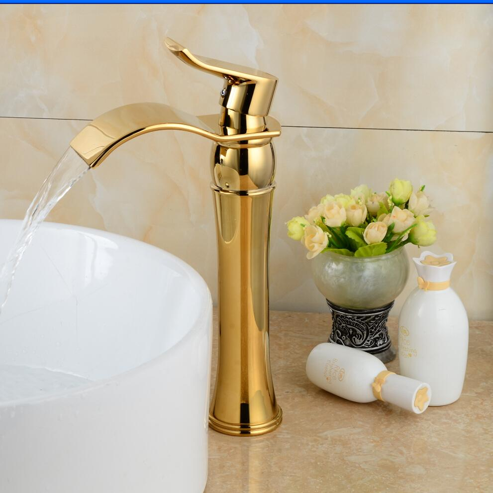 Luxury basin faucet Free shipping swan sink faucet single handle gold swan basin faucet Gold plated bathroom tap B-1002M ems dhl free shipping gold finish bathroom sink beauty faucet gold clour sink faucet artistic basin faucet luxurious faucet