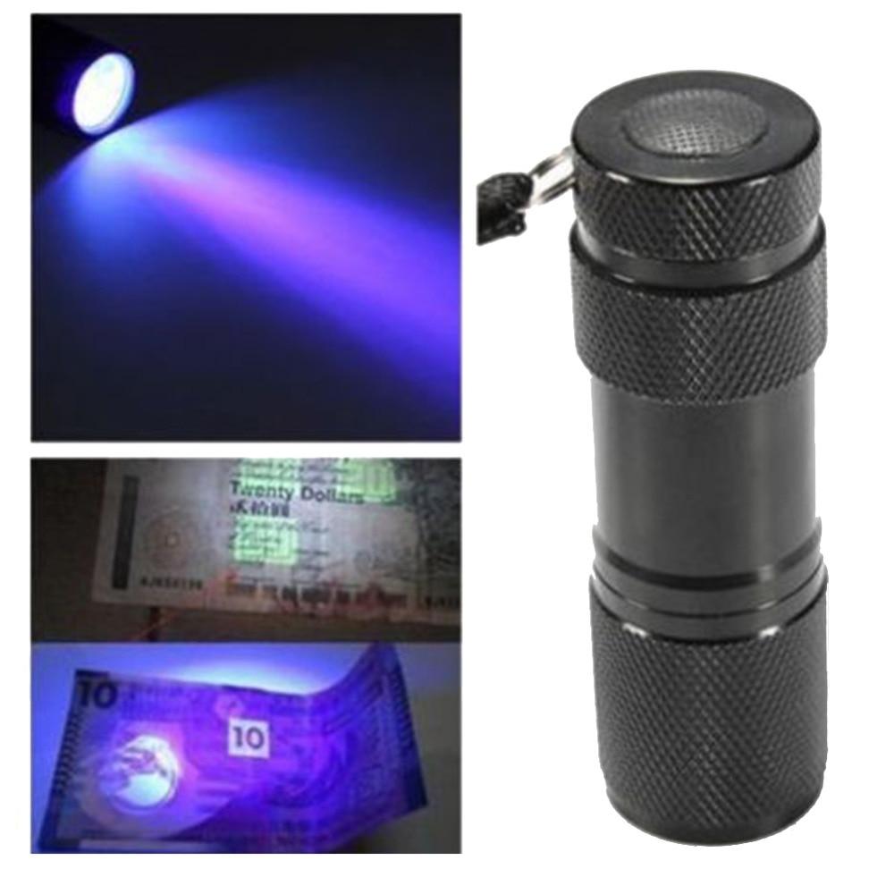 1 PC Черно Мини Алуминиево Портативно Осветление UV Ултравиолетово Blacklight 9 LED ултравиолетово фенерче Факел Светлинен фенер фенерче VEE07 P0.3