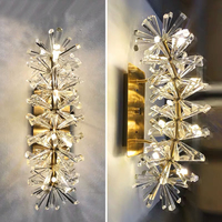 Flower pattern crystal wall sconces lighting wall lights for bedroom bedside living room chrome wall lamp home decor fixtures