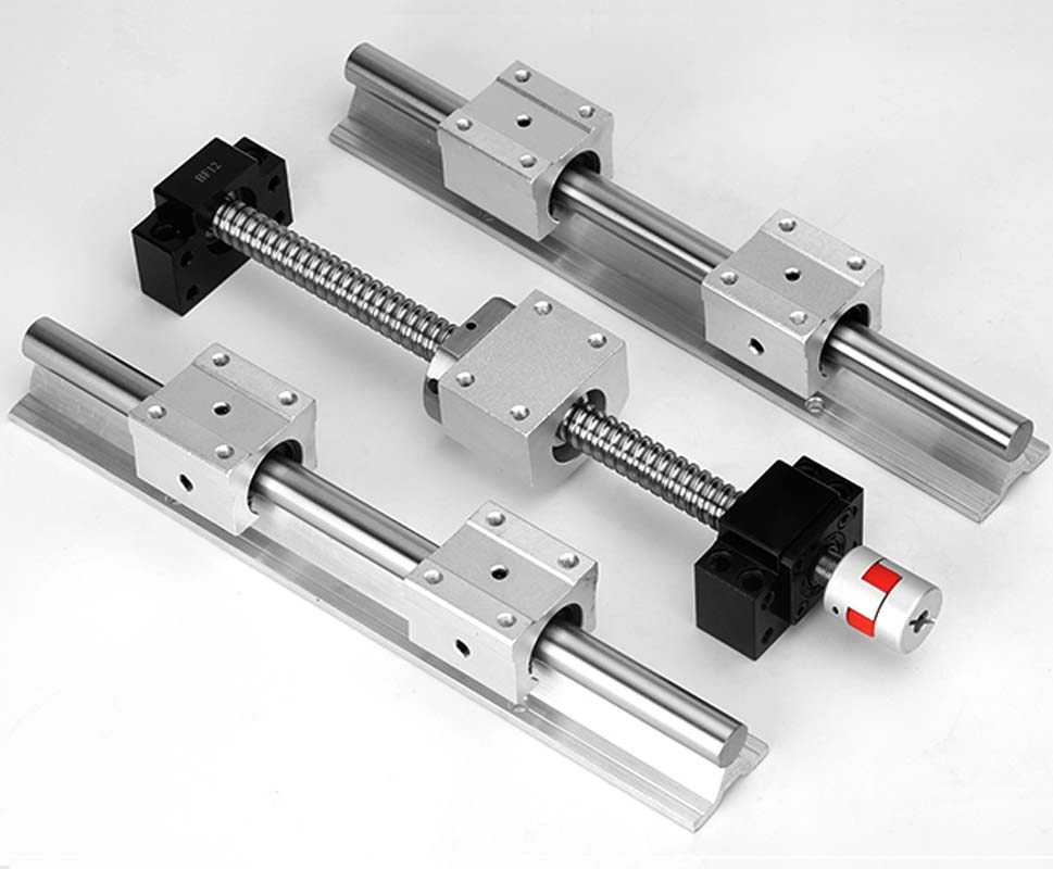 SBR12 SBR16 SBR20 linear guide Rail + ballscrews RM1605 SFU1605 ball screws + BK/BF12 + nut housing + couplers for CNC parts