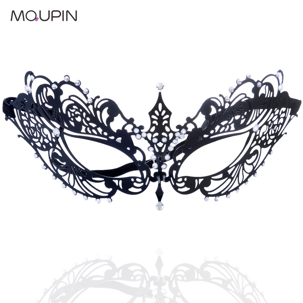 MQUPIN New Ladies Creative Rhinestone Wrought Iron Mask Clubwear Sexy Exotic Lingerie Accessories Adult Toy Cosplay  Bondage