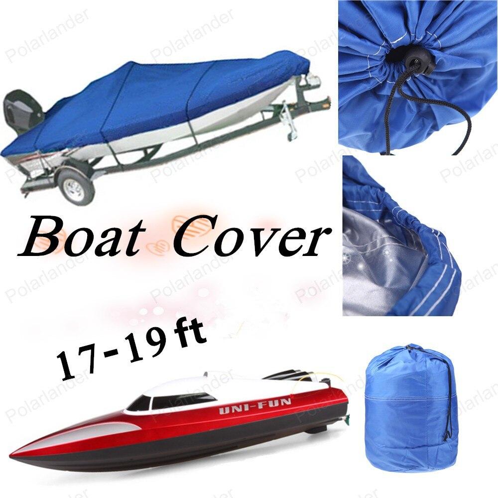 Nouvelle vente chaude couverture de bateau robuste 17-19ft bâches imperméables avec 210D Oxford couverture pour Caravana v-coque bateau avec faisceau bleu