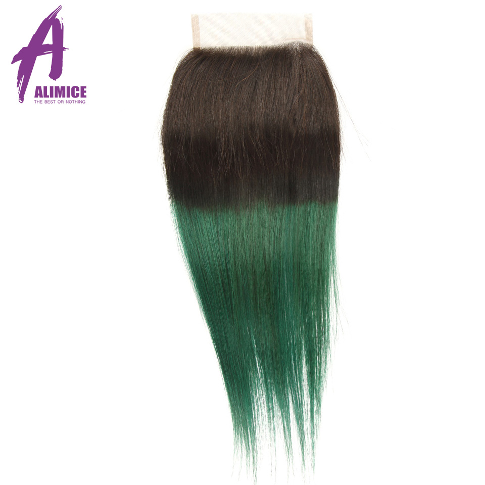 Alimice Ombre Bundles With Closure 3 Bundles With Closure 4PcsLot T1BGreen Dark Roots Brazilian Straight Human Hair Bundles (19)