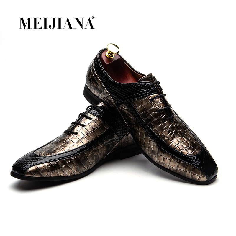 Men's Shoes Mens Spring Autumn Shoes Luxury Brand Snake Skin Fashion Flats Patent Leather Formal Male Footwear Dress Oxford Shoes For Men Attractive And Durable