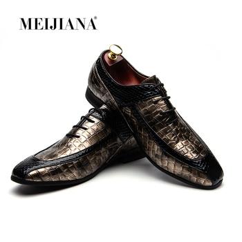 MeiJiaNa Man Shoes Brand Leather Men Shoes Luxury Oxford Brand Men's Dress Shoes