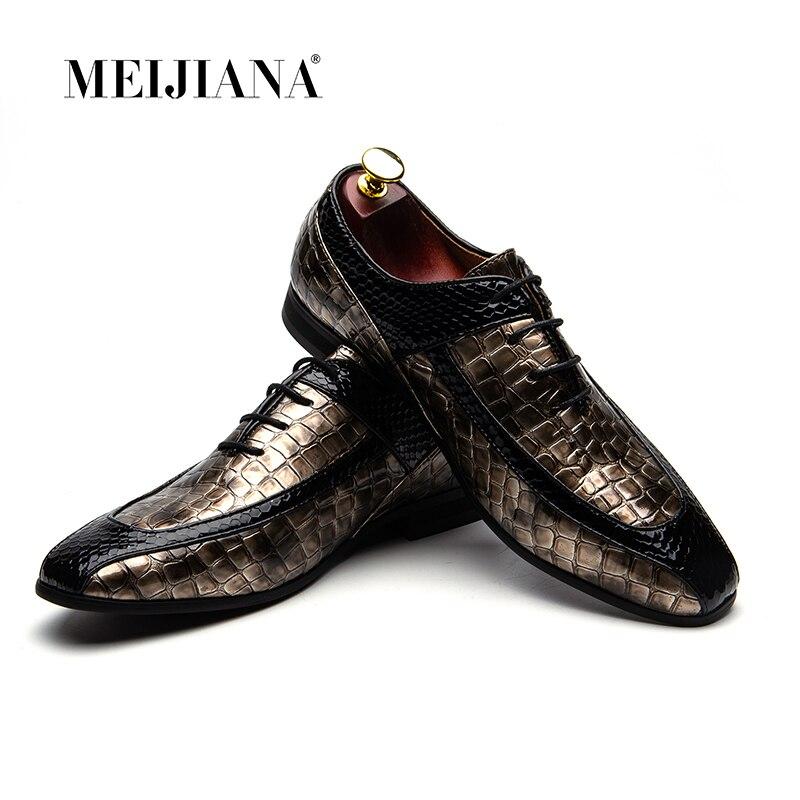 Ayakk.'ten Resmi Ayakkabılar'de MeiJiaNa erkek ayakkabıları Marka deri erkek ayakkabısı Lüks Oxford Marka erkek Elbise Ayakkabı'da  Grup 1