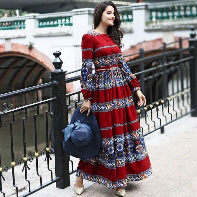 Plus Size XXXL Women's Dress 2018 Spring Maxi Party Fashion Ladies Vintage National Style Print Long Sleeve Long Dress Bohemian