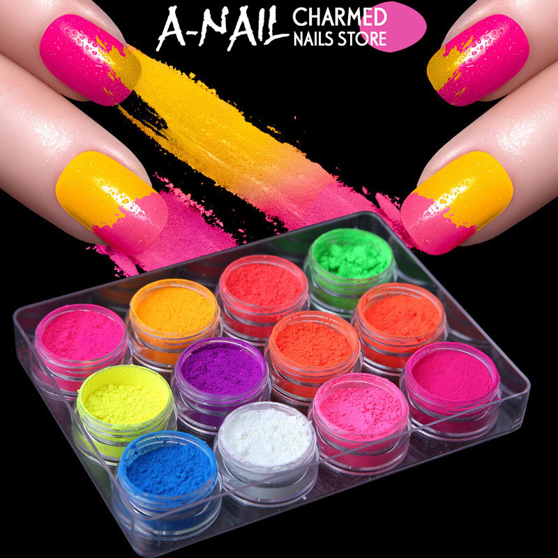 12jars/set Neon Pigment Fluorescence Effect Nail Glitter Fluorescent ...