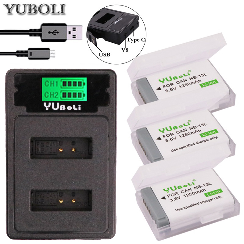 PowerTrust LCD USB Battery Charger for Canon NB-13L PowerShot G5X G7X G9X G7 X Mark II G9 X,SX620 SX720 SX730 HS Battery