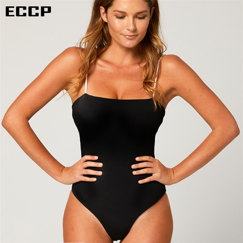 2018 Sexy One Piece Swimsuit Knit Women Fused Swimwear Female Bather Solid Black Thong Backless Monokini Beach Bathing Suit S-L
