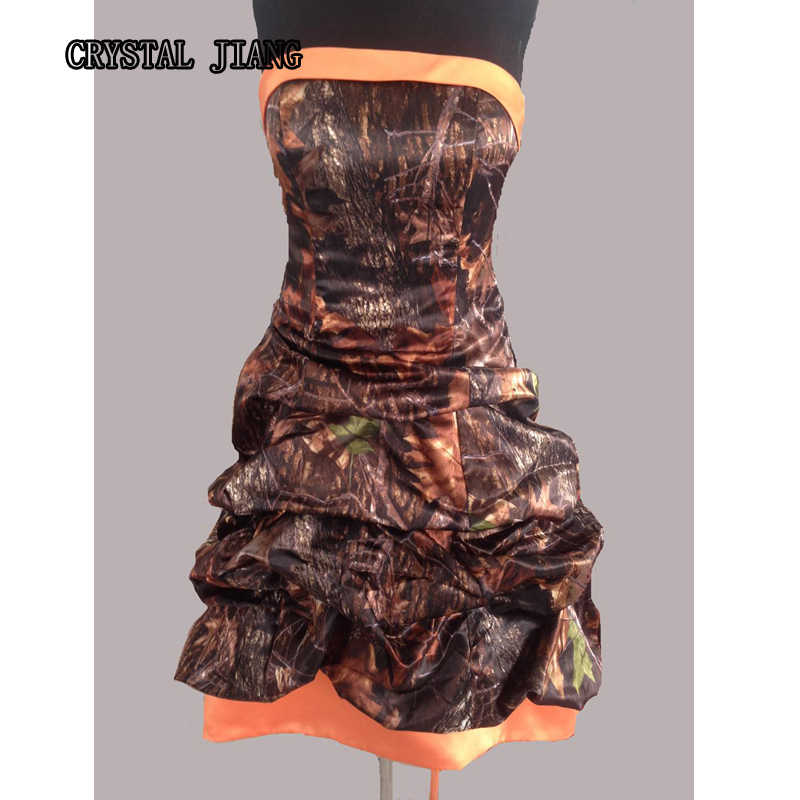 Camo Bridesmaid Dresses Long Hunter Orange Pick Up Gown For Fall