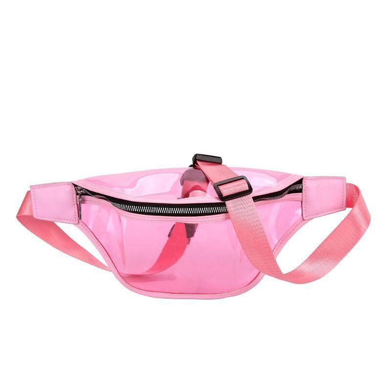 Women'S Pockets Sleek Minimalist Transparent Pockets Wild Messenger Bag Chest Bag Ladies
