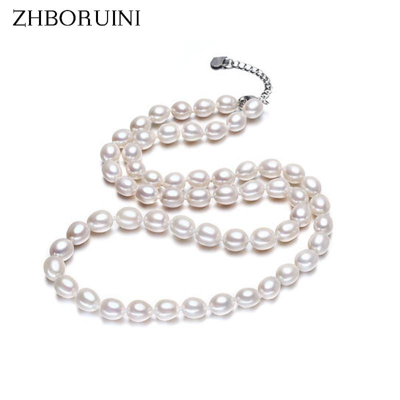 ZHBORUINI κοσμήματα μόδας κολιέ μαργαριτάρι φυσικό γλυκό νερό μαργαριτάρι λευκό κολιέ choker 925 κολιέ στερλίνα ασημένια για τις γυναίκες