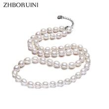 ZHBORUINI Moda Collar de la Joyería de La Perla Natural de Agua Dulce Blanco Perla Gargantilla Collar 925 Collar de Plata de ley Para Las Mujeres