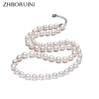 2015 Fashion Necklace Pearl Jewelry Natural Pearls 7 8mm Rice White Pearl Choker Necklace Pendants For