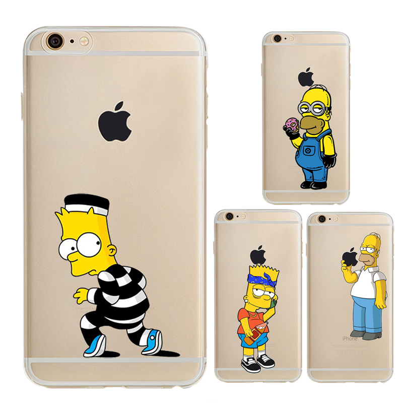 Soft TPU Fashion Cartoon Printed Phone Case for Iphone 6 Simpson Pattern Transparent Thin Cover for Iphone 6s Protective Bag