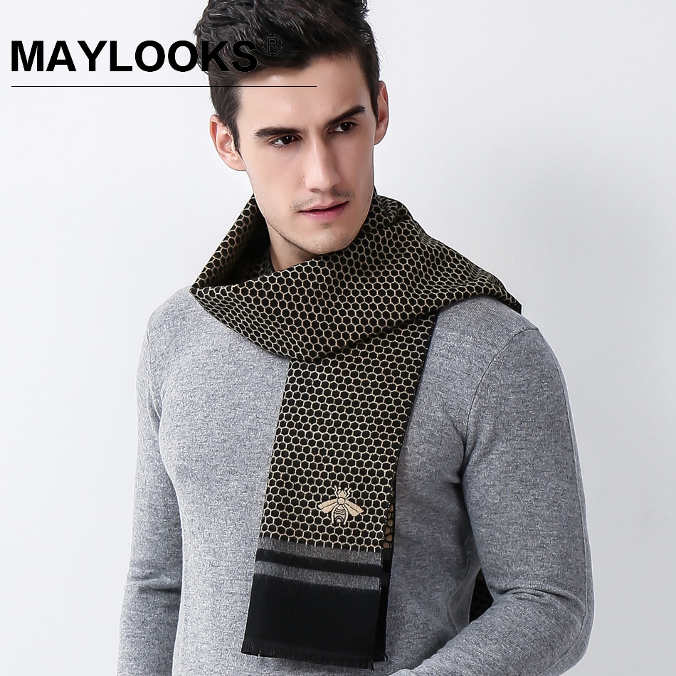 Maylooks Luxury Winter Warm Wool Cashmere Scarves Thick Geometric Lump Scarf Gentleman Business Man Shawl PashminaWrap LS0117