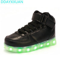 7 Colors Kids LED Shoes 2017 New Autumn Winter High Top Children Growing Sneakers For Boys