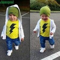 CHAMSGEND Geel Dagelijkse Peuter Kids Baby Jongen Meisje Afdrukken O korte T-shirt Tops Demin Broek Outfits Kleding Set ag3 P30