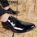 Британский Шаблон Моды для Мужчин Оксфорды Обувь Лакированная кожа мужская Платье Обувь Острым Носом Свадебные Туфли Zapatos Hombre 5 Цвета