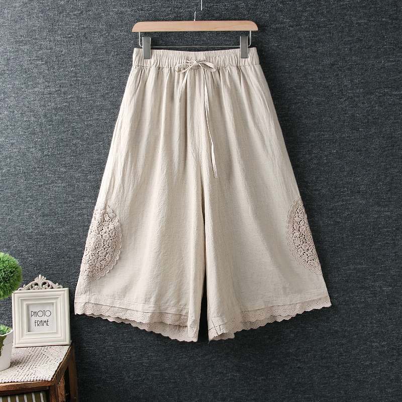 lace patchwork hollow out cotton linen   Wide     leg     pants   calf-length   pants   mori girl