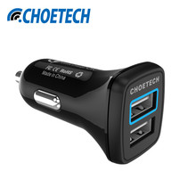 CHOE Para Qualcomm Cargador Rápido 3.0 2 Puertos Mini USB cargador de Coche cargador para iphone 6 ipad samsung galaxy s7 htc xiaomi qc2.0 Compatible