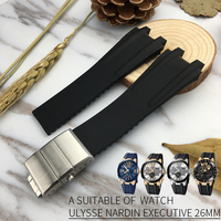 Silicone Rubber Watchband Steel Buckle Sport Strap Special for Ulysse Nardin Executive 243 for Man Watch accessories 26mm