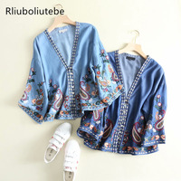 women denim jeans cardigan poncho embroidery vintage drop shoulder kimono blouse button up v neck kimono soft spring summer