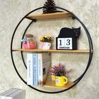 Bedroom Living Room Wall Decorative Wood Wall mounted Bookshelf Iron Multi Treasure Bonsai Flower Modern Accessories