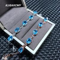KJJEAXCMY Fine jewelry Natural Topaz Stone Bracelet wholesale 925 sterling silver inlaid support identification