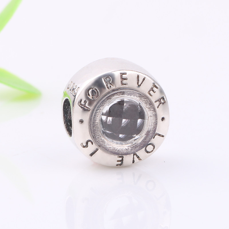 Ranqin 925 Sterling Silver Family Forever Charm Beads Clear CZ Fit Original Pandora Charm Bracelet Authentic Jewelry G