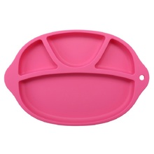 Silicone Baby Dinner Plate Slip-resistant One Piece Feeding Food Placemat Bowl Children Dishes Tableware