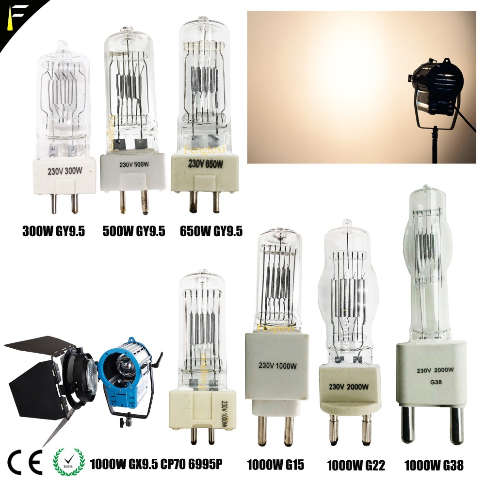 Studio Lamp Bulb 500w 650w gy9.5 Conventional Lamp 1000w gx9.5 2000w g15g22 3000w g38 3200K Warm Color Spot Light Bulb|Stage Lighting Effect| |  - title=