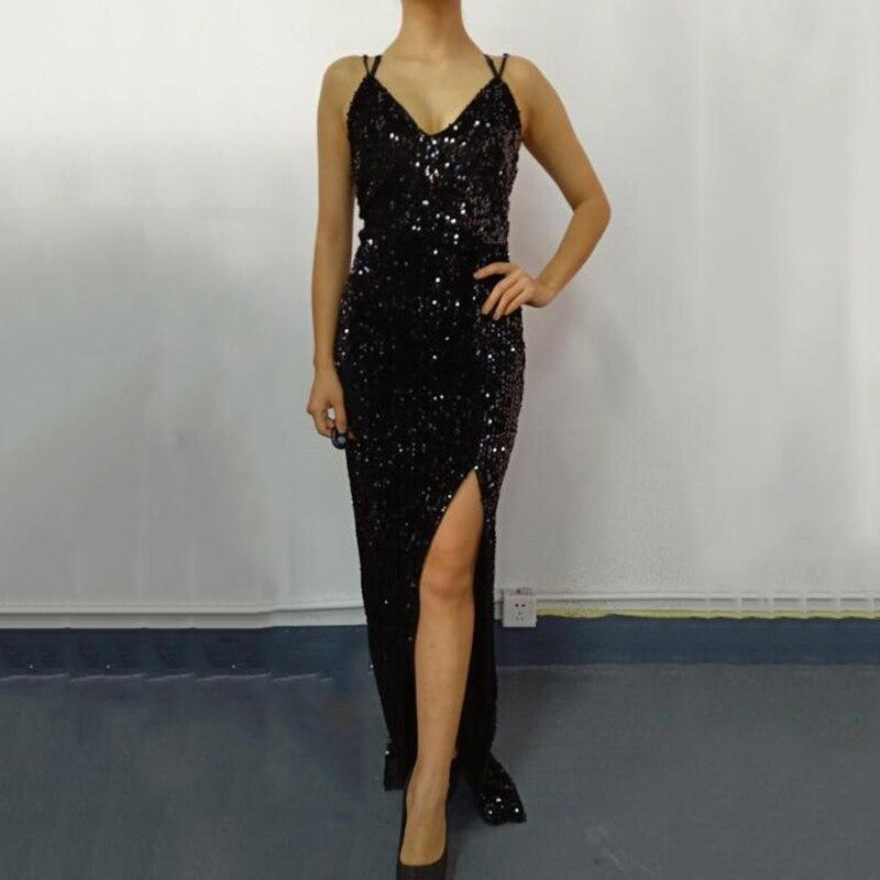 Sleeveless long sequin dress Women high slit spaghetti strap dresses Sexy V neck club party dress Maxi black sequined vestidos 1