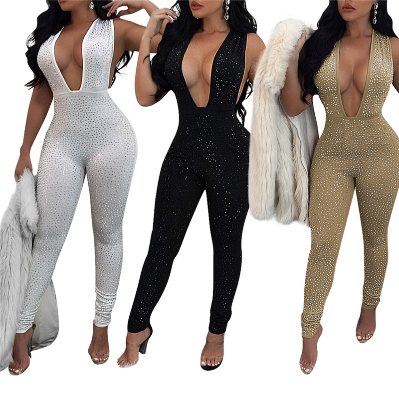 51761937785 2017 Sexy Bodycon Jumpsuit for Women Romper Deep V Neck Rhinestone Bodysuit  Female Skinny Mesh Nightclub Party Sparkly Overalls-in Jumpsuits from  Women s ...