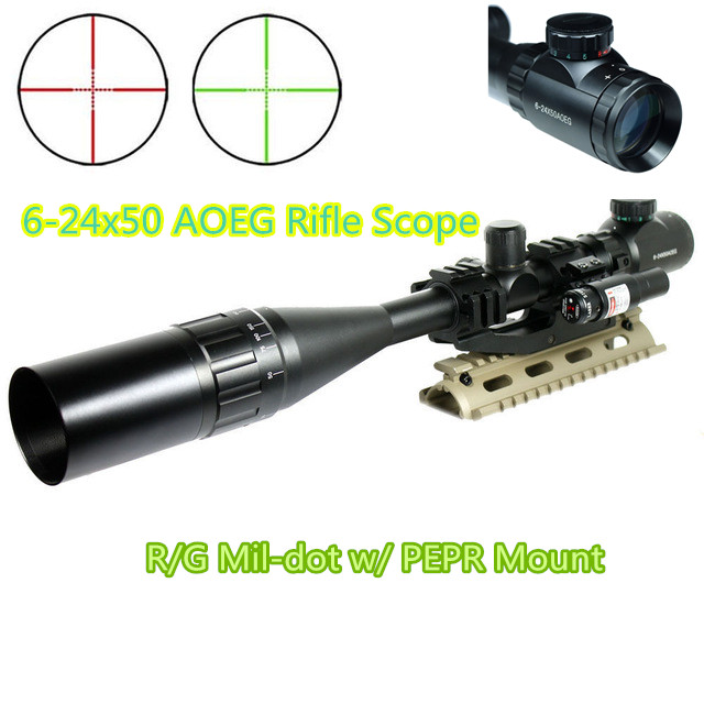 6-24X50 AOEG Rifle Scope R/G Mil-dot w/ PEPR Mount + Sunshade + Laser Sight Combo Airsoft Weapon Sight for Hunting Shooting x400 led weapon light handgun flashlight with red laser sight for rifle scope outdoor hunting shooting camping free shipping